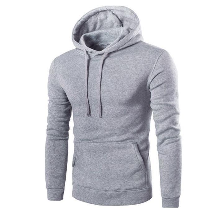 Hommes Rétro à manches longues à capuche Sweat à capuche Hauts outwear  manteau de veste gris. SWEATSHIRT ... faf47ae4b688