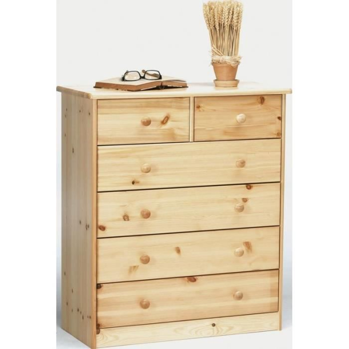 Excellent commode tiroirs en pin gene with cdiscount commode for Commode avec panier en osier
