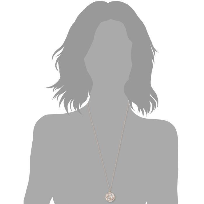 Collier Chaîne à Maillons Ronds 80cm Avec Pendentif Femme Plaque Cercle Swarovski Elements Cristal Multicolore Z8P0R