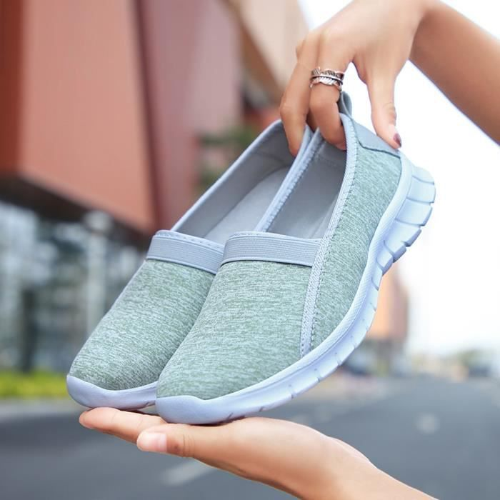 Fashion Femmes Menthe Sole Shoes Verte Slip Soft Lazy on Breathable Sports Casual nOkXwP80