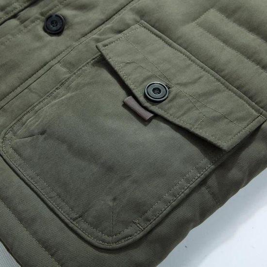 Armée Éclair Hommes Slim Hiver Chaud Veste Pardessus Outwear Fermeture Boutons Long Trench Manteau Verte HHrx7nPw