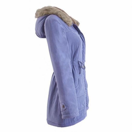 Outwear De Fourrure Capuche Femmes Parka D'hiver Veste Slim Manteaux Bleu À Long Manteau Ciel Col qwtPUA