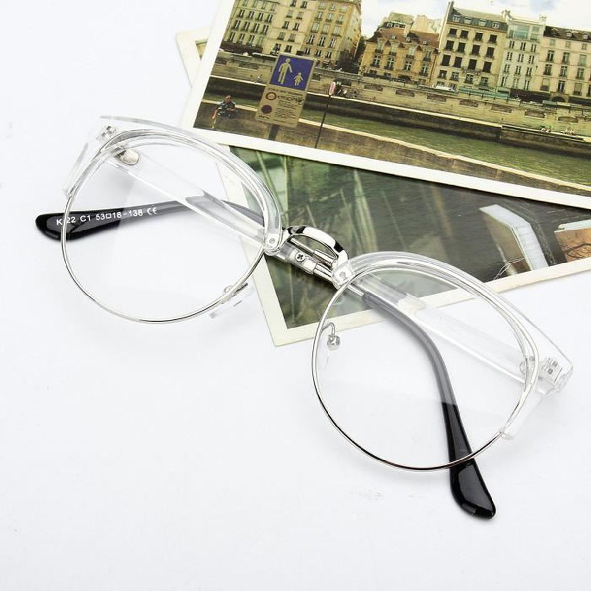 ef3c490373abbc Lunette Optique Loupe Monture Vintage Ronde Métal Lecture Vue  Transparent-Argent - Achat   Vente lunettes de lecture Fille Adulte -  Cdiscount