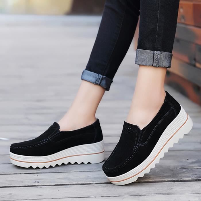 Chaussures Creepers Décontractée Femmes Muffin Flats Sneakers Mocassins Noir Cuir En A1xnE0wn6q