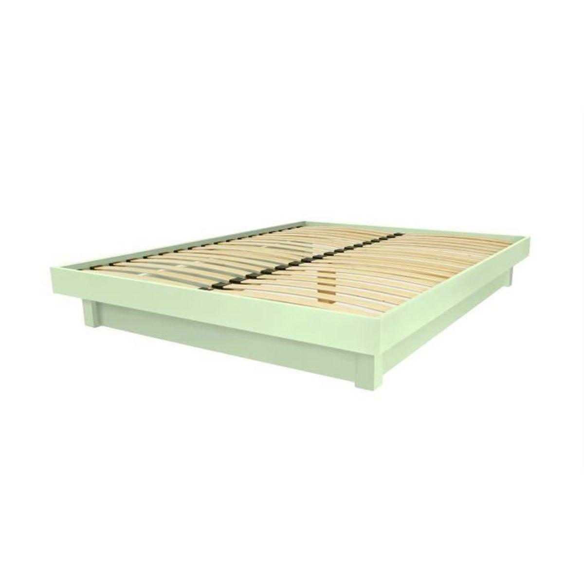 Lit plateforme bois massif pas cher (Vert Pastel - 140x190) - Achat ...