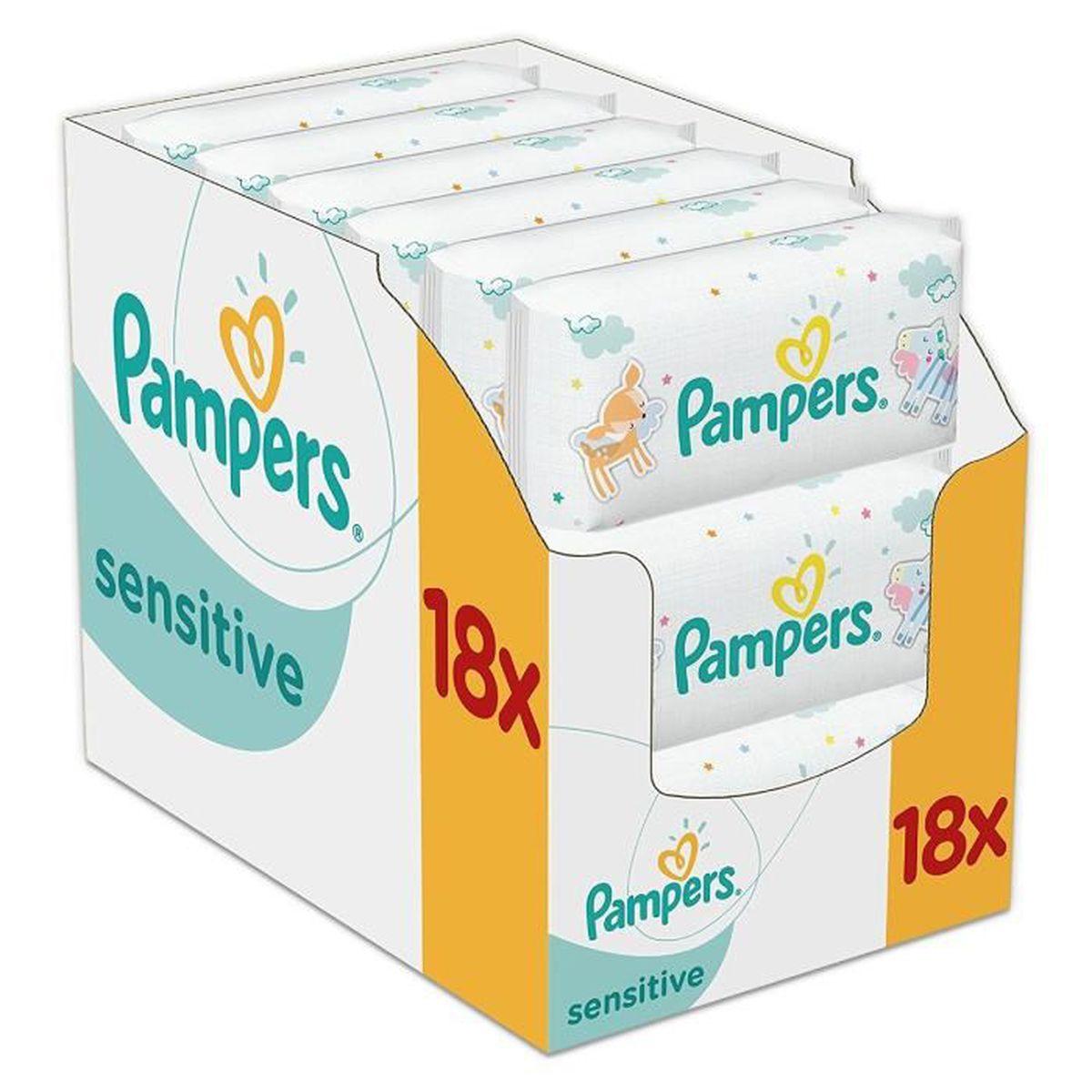 COUCHE Pampers Lingettes Sensitive Lot de 18 Paquets, 100