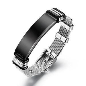 Bracelet homme-Personnalité En acier inoxydable Hommes Maille ceinture  Bracelet Réglable b7f7e4d3329