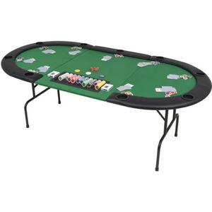 TABLE MULTI-JEUX Table de poker pliable pour 9 joueurs 3 plis Ovale
