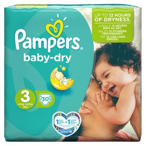 COUCHE PAMPERS Baby Dry Taille 3 - 4 à 9kg - 30 couches