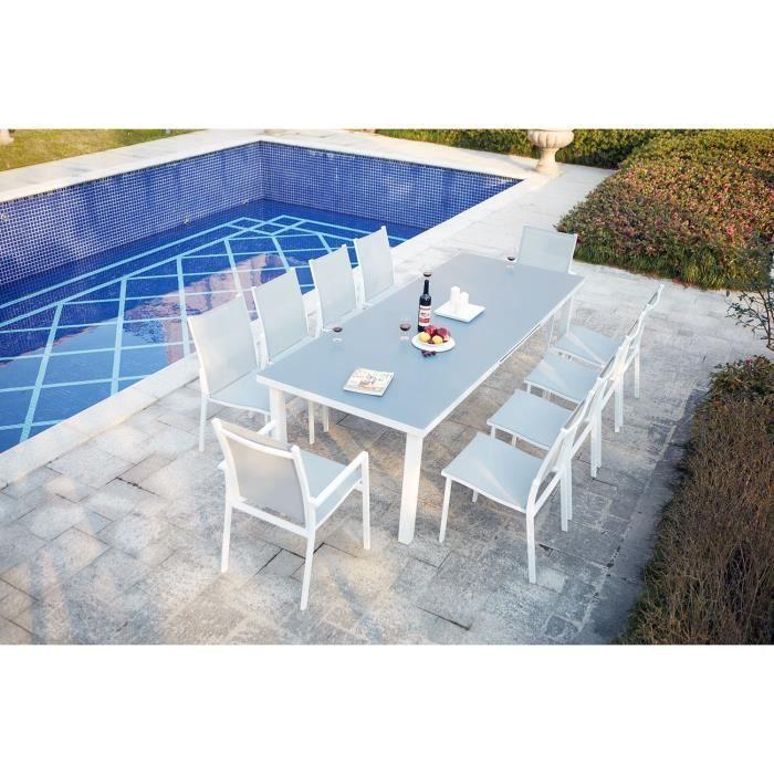 Salon de jardin aluminium extensible 8 chaises - Achat / Vente pas cher