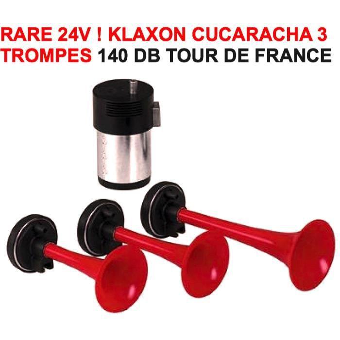24v tour de france cucaracha klaxon italien 3 trompes 140db raid preparation 4x4 achat. Black Bedroom Furniture Sets. Home Design Ideas