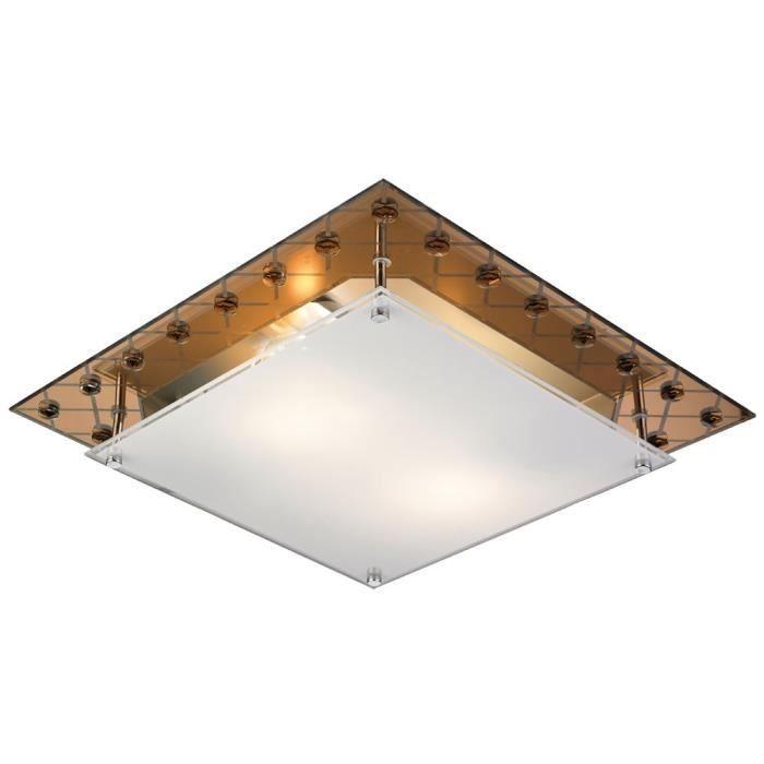 Plafonnier Luminaire Plafond Salle De Séjour Métal Verre Cuivre Bord
