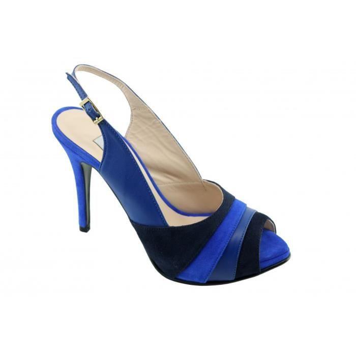 Jalcome – Escarpin à plateforme bout ouvert chaussures femme petites pointures tailles marque Yves de Beaumond cuir multi bleu