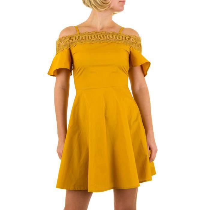Femme robe dentelle Mini jaune S