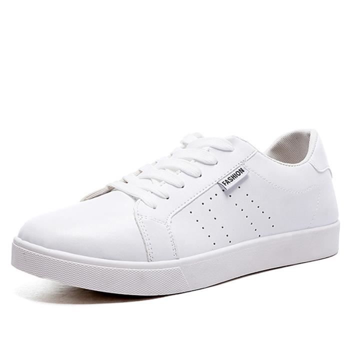 Chaussures De Sport Pour Hommes En Cuir Basket Populaire BXX-XZ128Blanc42 3kFGVt