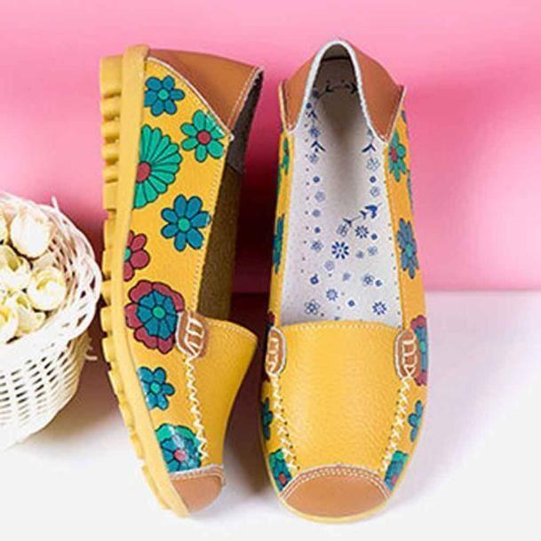 Nouvelles Casual Mocassins Souple Cuir En Femmes Chaussures Loisirs Jaune De Flats 0wOknP