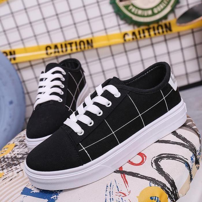 De Sneaker Bout Noir Casual Toile Rond Femmes Plaid Chaussures Mocassins Lacent Plat 0f1xnqz