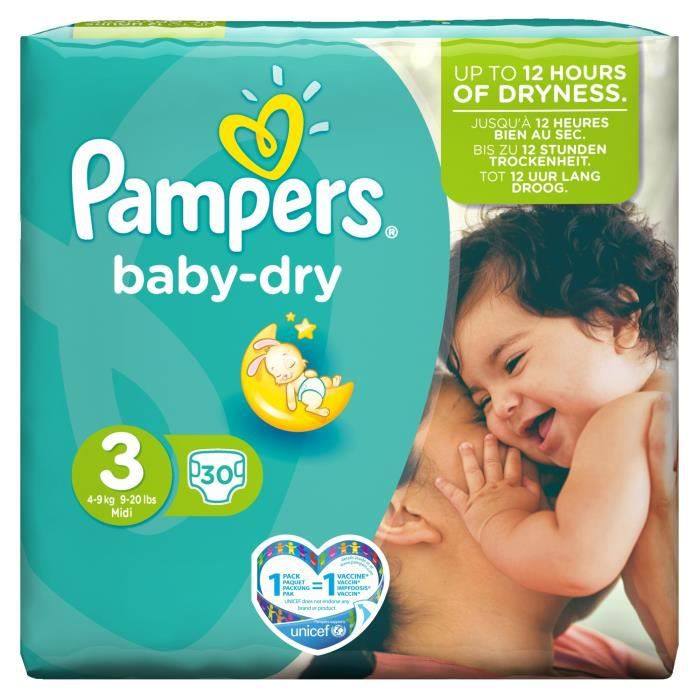 Pampers Baby Dry Taille 3 4 à 9kg 30 Couches Blanc Achat