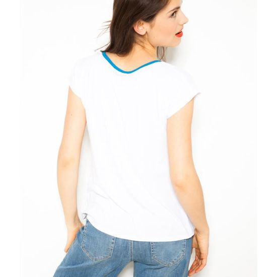 1d46973aa73 Camaïeu - T-shirt femme imprimé - TCUBANA BLANC Blanc - Achat   Vente  t-shirt - Cdiscount