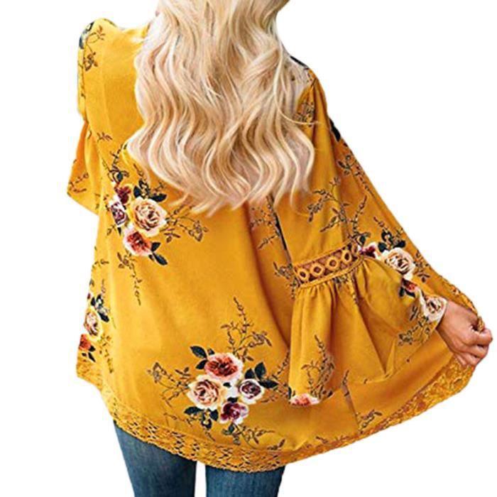 Wde7413 Casual Femmes Kimono Dentelle Veste Cardigan Blouse Manteau Florale Ouvert Cap vB16vq