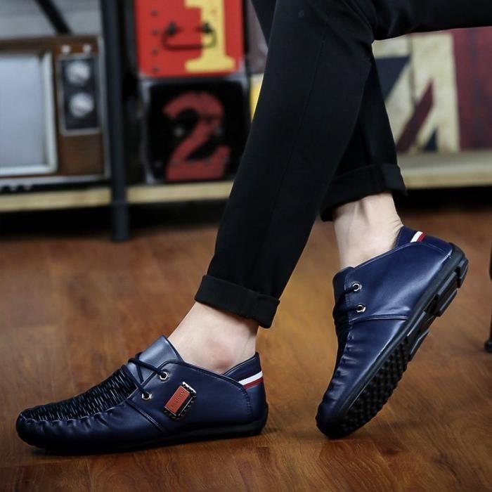 Mode Hommes Mocassins Noir - Blanc - Bleu Chaussures en cuir Man Casual Loisirs Hommes Flats,noir,42,4855_4855
