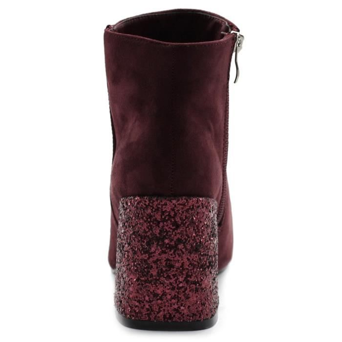 Chaussures Faux Suede Zipper Up Chunky Talons Glitter Bottines Twb0103 IXHKE Taille-38