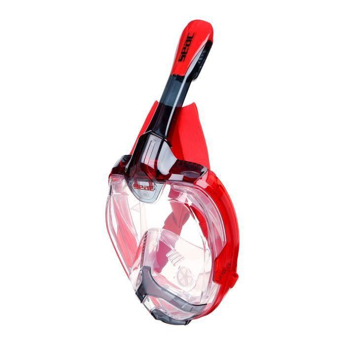 SEAC Masque de plongée intégral Unica - Taille L/XL - Noir et rouge