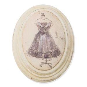 TABLEAU - TOILE Tableau ovale bois Buste mannequin - mode - B