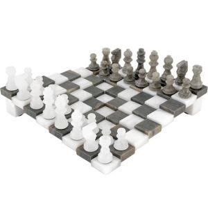 JEU SOCIÉTÉ - PLATEAU Jeu d'échecs en albâtre gris et blanc à 3 dimensio