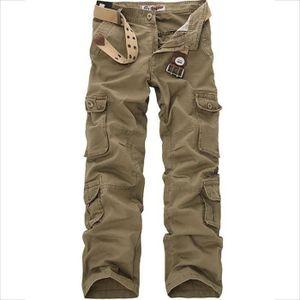 PANTALON Homme Pantalon Cargo En Coton Avec Multi Poches Un