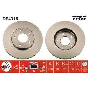 DISQUES DE FREIN TRW Lot de 2 Disques de frein DF4316