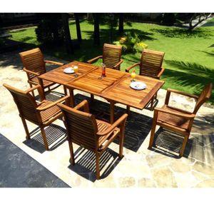 Salon de jardin en teck avec 6 fauteuils - Achat / Vente salon de ...