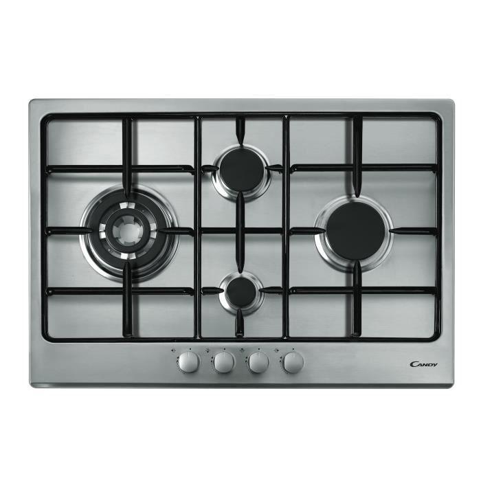 CANDY CTG1047X - Table de cuisson Gaz - 4 foyers - 9250W - L75 x P51cm - Revêtement inox - Coloris I