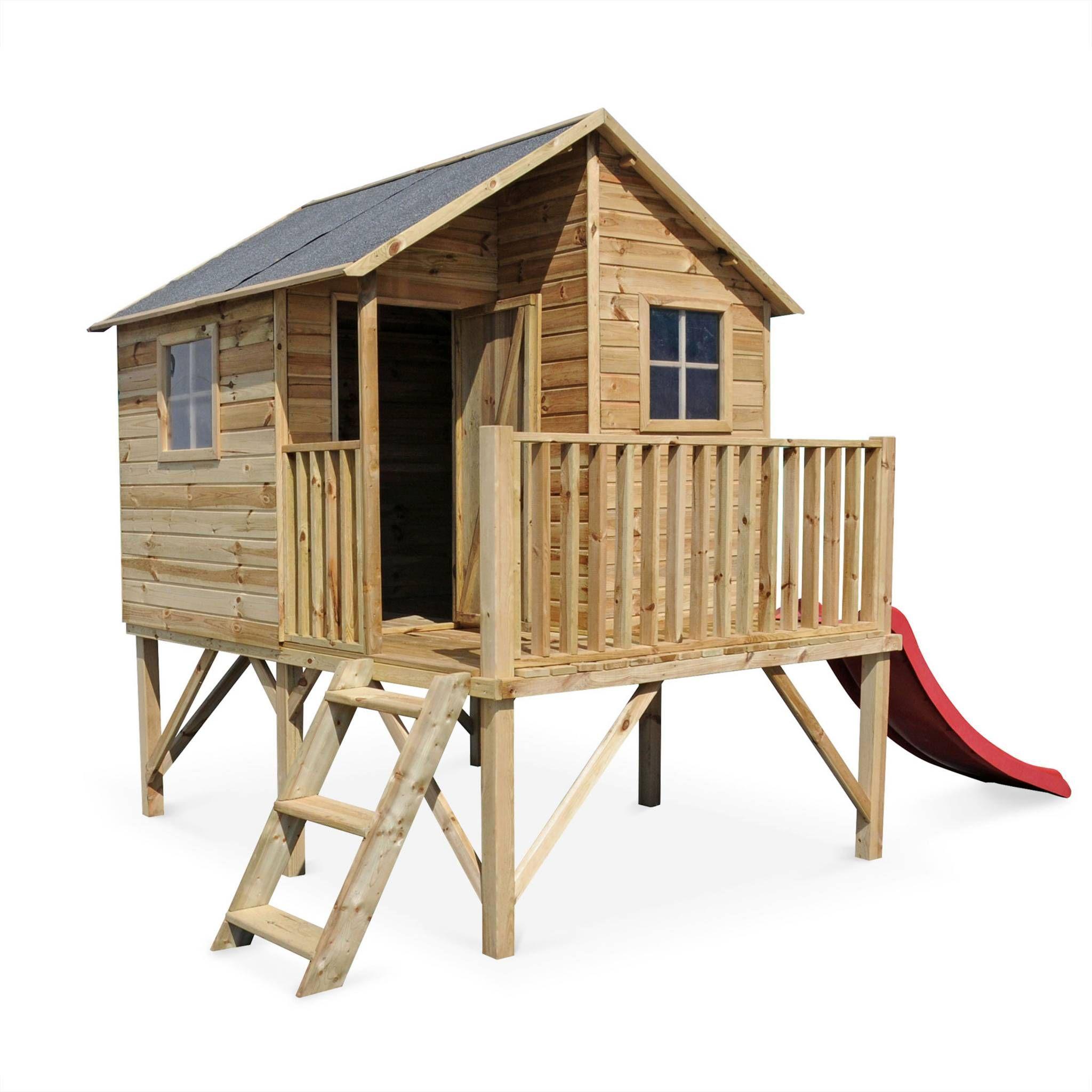 Maisonnette avec toboggan en bois FSC de 3,8m², Orchidée - cabane ...
