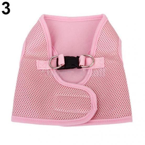1 Pc Pet Chien Maille Doux Tissu Col De Marche Sangle Gilet Harnais Vêtements Rose S
