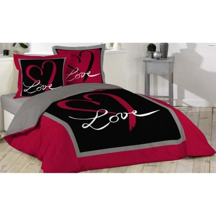 housse de couette rouge et noir housse de couette 240x260 cm parure pour grand lit taies. Black Bedroom Furniture Sets. Home Design Ideas