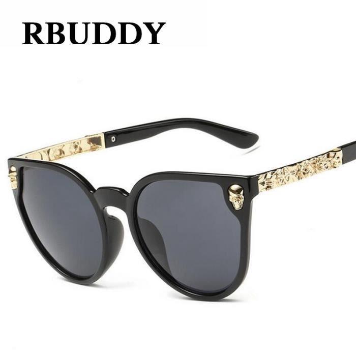 99a91f9115 RBUDDY femmes lunettes de soleil gothique Lunettes cadre crâne Temple métal  Brand Design Femme cool Or Lunettes de soleil Oculos de
