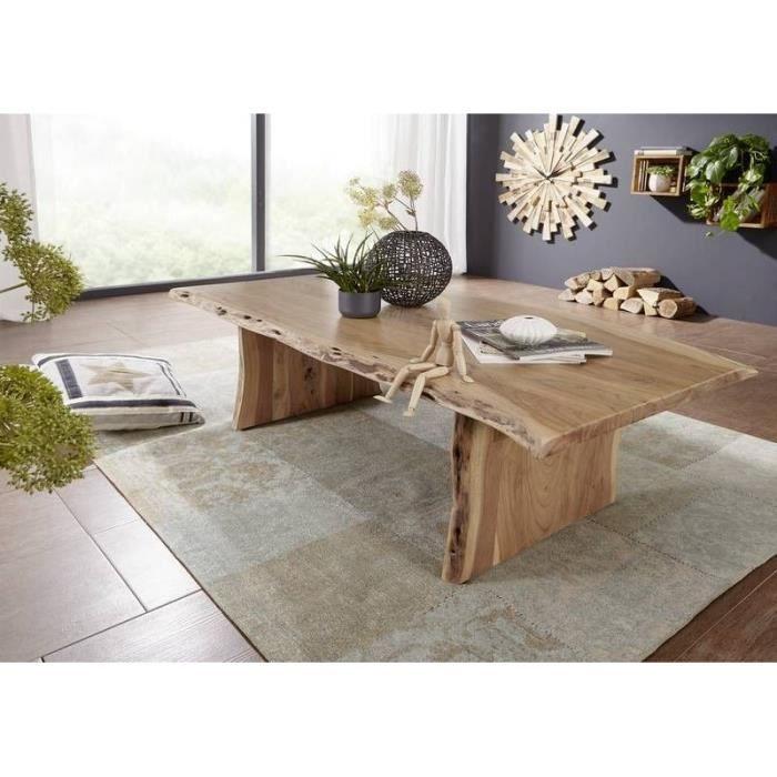 Table Basse 150x70cm Bois Massif Dacacia Laqué Design Naturel