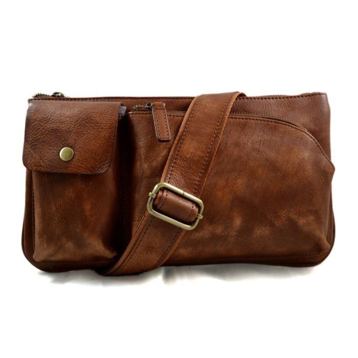 Sac cuir vintage pouche marron sac cartable sac bourse sac en cuir homme  femme monnaie en cuir 6badff9e2136