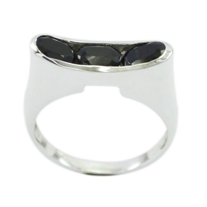 anneau noir onyx - anneau noir - bague en argent - Bague en argent noir