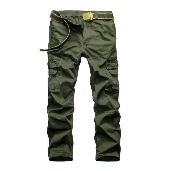 Homme Pantalon Cargo En Coton Avec Multi Poches Uni (Sans Ceinture ... 2a4a2fa52c2