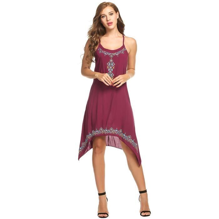 robe femmes style ethnique décontracté O-cou estampes ourlet asymétrique Cami robe Spaghetti sangles