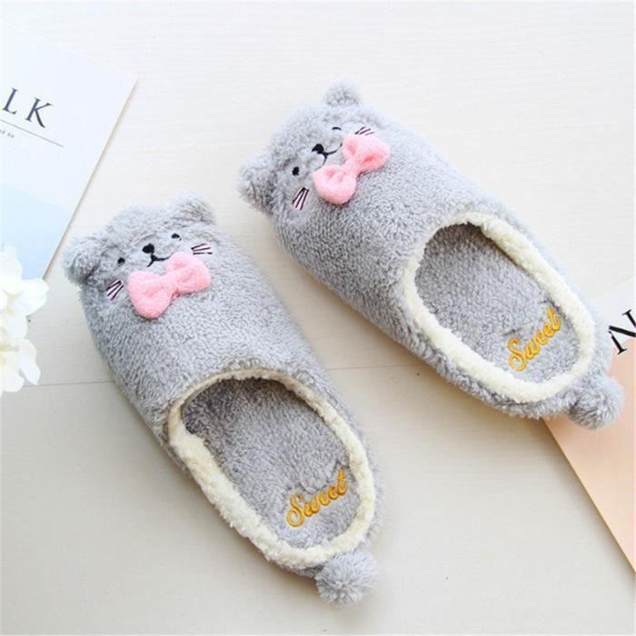 chaussons chat mignonne femmes intérieur pantoufles hiver Peluche courte Velours et chausson femme hiver chaud dssx396gris37 pFHCRusRw