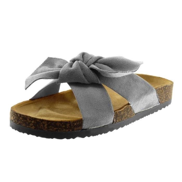 Angkorly - Chaussure Mode Sandale Mule slip-on femme noeud liège Talon compensé 2.5 CM - Gris - S17 T 41