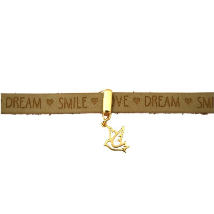 Gemshine - Dames - bracelet - paix - colombe - ailes - Argent 925 plaqué or - or - Wishes - sable brun - Fermeture magnétique