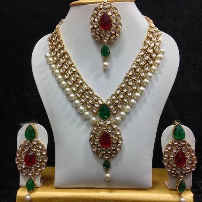 Womens Party Wear Kundan Traditional Jewellery Necklace SetSAZYO