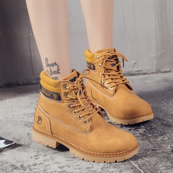 Bottes femme Bottes mode Bottes courtes Bottes avec coton Bottes hiver Chaussures étanches Chaussures chaudement Chaussures