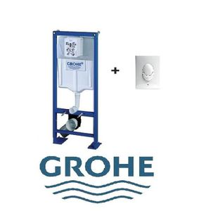 BATI SUPPORT WC GROHE SL AUTOPORTANT AVEC FIXATIONS ET PIPE + PLAQUE  BLANCHE SKATE GROHE 7fb9c166aaf1