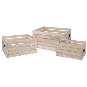 JARDINIÈRE - BAC A FLEUR Lot de 3 caisses en bois avec manche en métal - Gr