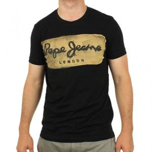 T-SHIRT Pepe Jeans - Tee Shirt Charing Noir pour Homme